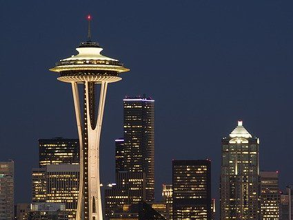 A view of Seattle at night.