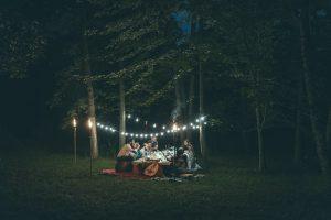 A backyard dinner party.