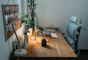 A desk after setiing up a home office