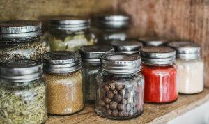 glass jars.